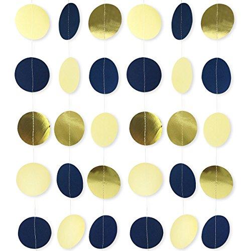 Blue Circle Dot (Navy Blue Party Garland, 2.5 Inches Circle Dots Garland for Navy Blue Party Decorations Weddings Bridal Shower Birthday Baby Shower Nursery Decor 3 Pack/Set 10 Feet Long)
