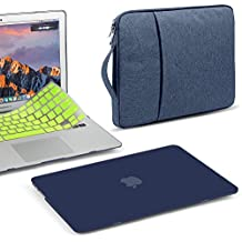 GMYLE 3 in 1 Bundle Navy Blue Soft-Touch Matte Hard Case for Macbook Air 13 inch (A1369/A1466) Water Repellent Laptop Sleeve with Handle and Pocket and With Neon Yellow Silicon Keyboard Cover