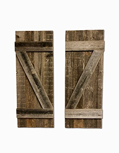 (BarnwoodUSA | Rustic Farmhouse Window Shutters (Set of 2) | Made of 100% Reclaimed and Recycled Wood | Rustic Interior Window Shutters | Traditional Country Style Home Decor | Made in USA)