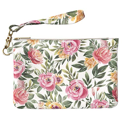 Lex Altern Makeup Bag 9.5 x 6 inch Pink Rose Green Leaves Pattern Floral Peonies Flower Bathroom Storage Wristband Girly Design Print Purse Pouch Cosmetic Travel PU Leather Toiletry Women Organizer