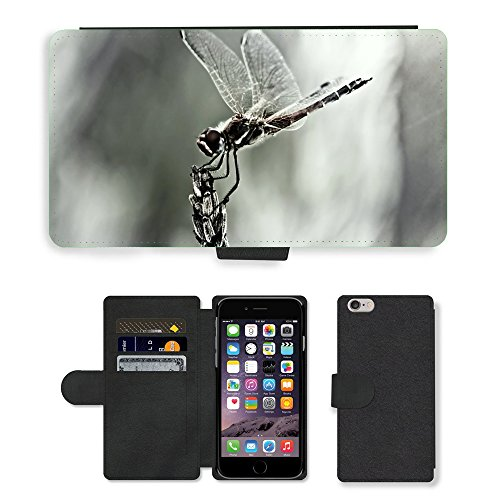 Just Phone Cases PU Leather Flip Custodia Protettiva Case Cover per // M00128149 Dragonfly Aile d'insecte Fermer // Apple iPhone 6 PLUS 5.5""