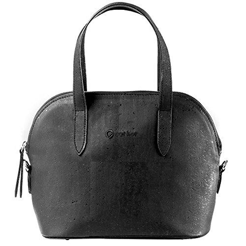 Corkor Top Handle Handbag Tote Small 9 to 5 Crossbody Cork Bag Satchel Natural Black Color by Corkor