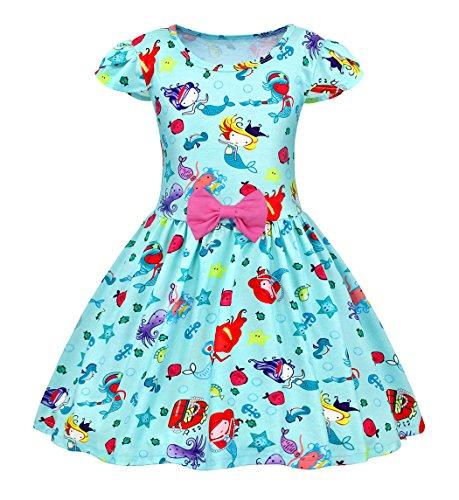 Filare Little Mermaid Dress Flutter Sleeve Girls Casual Sleepwear Pajamas Halloween 9-10 Years