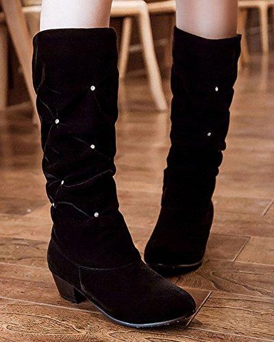 35 Stivali Nero Arricciati Donna Nero HiTime EU qISHXq