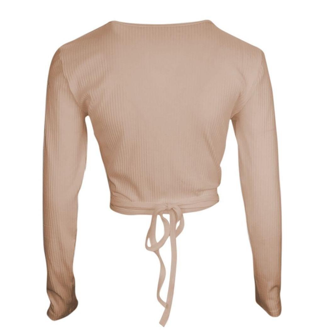 OWMEOT Women's Sexy Deep V Neck Bandage Surplice Wrap Crop Top (Khaki, M)