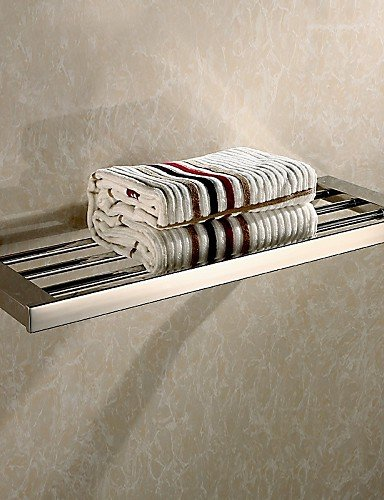 LI Bathroom Mirror Polished Stainless Steel Wall Mounted Square Towel Shelf , nickle by LN the bathroom
