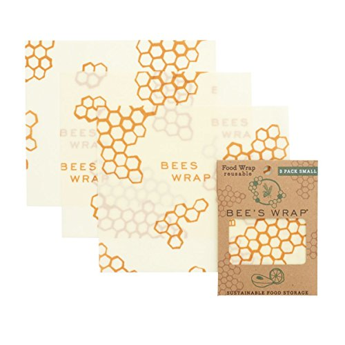 Bees Wrap Small 3 Pack, Eco Friendly Reusable Food Wraps, Sustainable Plastic Free Food Storage, Each Wrap Measures 7 x 8