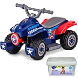 Marvel Captain America 6 Volt Battery Powered Wheels Operated Kids Ride on Quad Toys for Toddler Boys with Charger and Baby Wipes