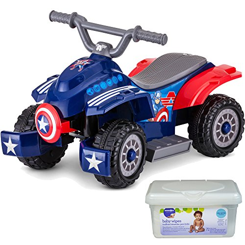 Marvel Captain America 6 Volt Battery Powered Wheels Operated Kids Ride on Quad Toys for Toddler Boys with Charger and Baby Wipes (Kids Dirt Bike Boots Size 1)