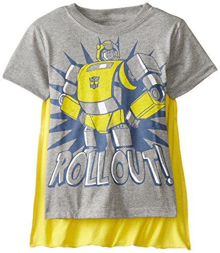 Transformers Little Boys' Toddler Bumblebee Roll Out Cape T-Shirt, Grey, 4T