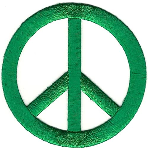 Green Peace Sign - Green Hippy Peace Sign Symbol Custom Embroidery Patch