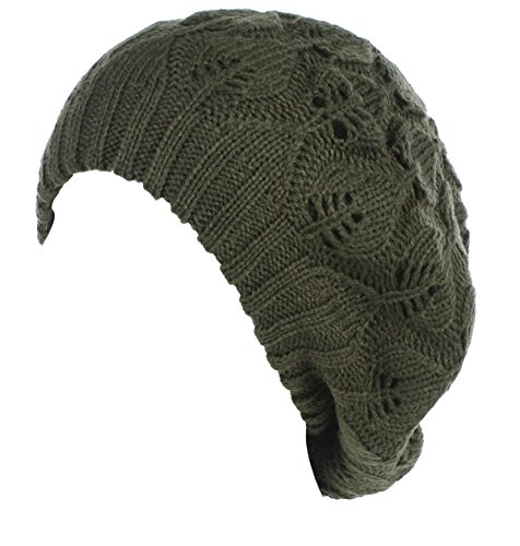 BYOS Winter Chic Warm Double Layer Leafy Cutout Crochet Knit Slouchy Beret Beanie Hat (Olive Green Leafy) - Ladies Knitted Mesh Hat