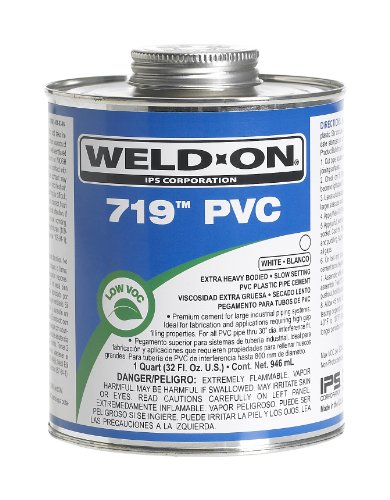 (Weldon 10159 White 719 Extra Heavy-Bodied PVC Professional Industrial-Grade Cement Slow-Setting Low-Voc, 1 Pint, White)