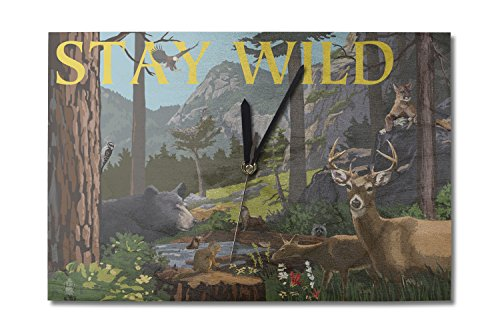Lantern Press Stay Wild - National Park WPA Sentiment (10x15 Wood Wall Clock, Decor Ready to Hang)