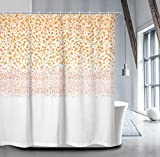 Livilan Blush Petals Rain Floral Shower Curtain Set 70.8'' x 70.8'', Decorative Waterproof Quick Dry Thick Polyester Fabric Bathroom Curtain, Peach