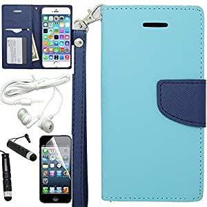[ARENA] TEAL BLUE DUAL TONE FLIP COVER FITTED WALLET LANYARD STAND POUCH CASE for APPLE IPHONE 6 4.7 INCH + FREE ARENA ACCESSORY KIT