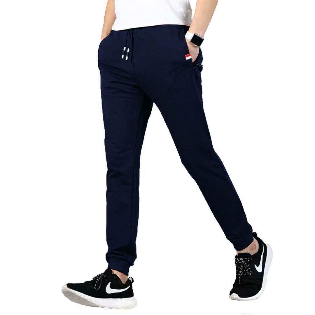 JustSun Mens Joggers Bottoms Jogging Slim Fit Pants Elastic Waist Zip Pockets