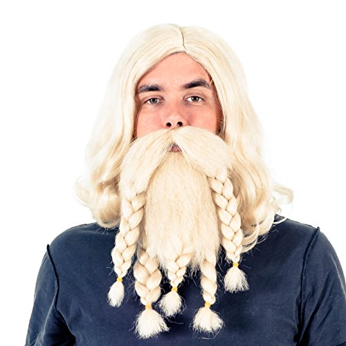 Adult Deluxe Viking Wig and Beard Costume Accessory Set (Blonde)