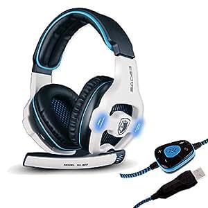 Sades SA-903 Stereo 7.1 Surround Professional USB Gaming Headphone Headset with Mic Headband Black & White