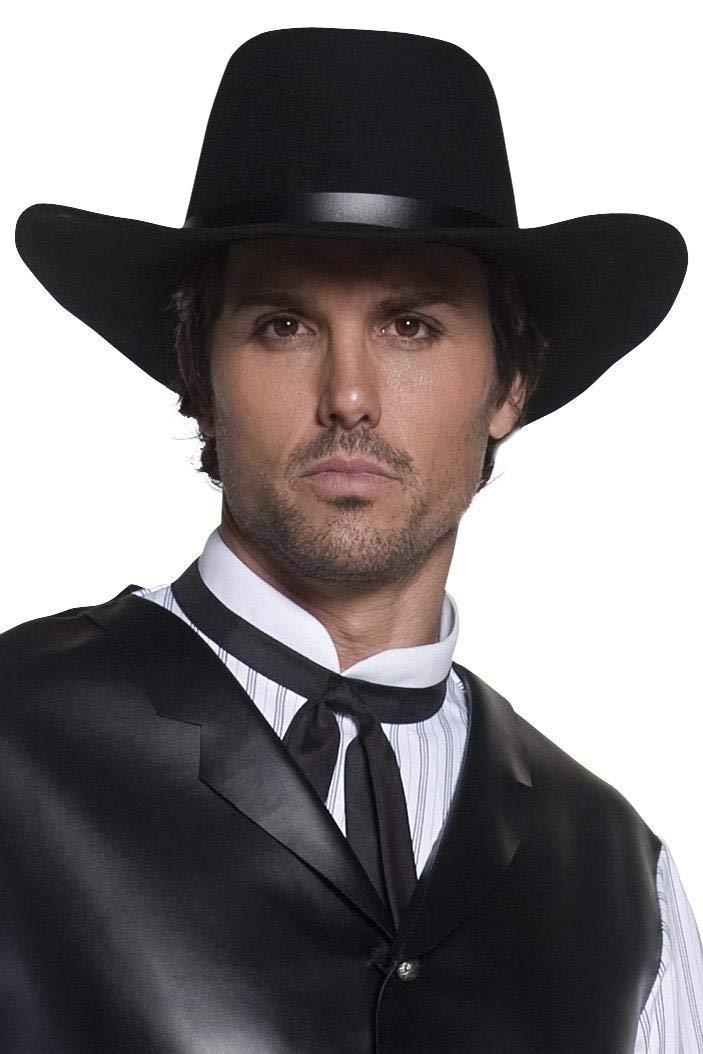Smiffy's Smiffys-36338 Sombrero de Pistolero del Oeste auténtico, de ala Ancha, Color Negro, Tamaño único 36338