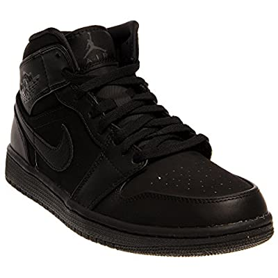 Nike Men's Air Jordan 1 Mid Black Suede Basketball Shoe - 8.5 D(M) US