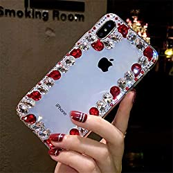 Border Red Rhinestone With TPU Case for iPhone