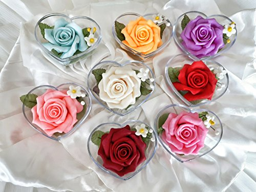 Unique Wedding Favors of 100 x Rose Hand Carved Flower Soap, Jasmine Aroma Essential Oil, Handmade by Thai Artisan and Individually Encased in a Clear Heart Shaped Box by Unknown