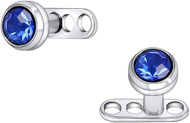 Amazon Com 14g Shiny Crystal Rhinestone Dermal Anchor Tops And