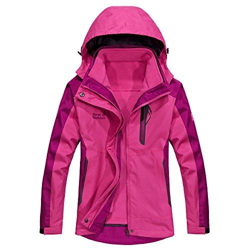Women's Detachable Two-Piece Skiing-jackets Winter Mountain Outwear Waterproof Windproof Charge Suit Hooded Warm Coats (Two Layer Jacket Waterproof)