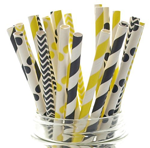 Bumblebee Paper Straws, Black & Yellow Drinking Straws (25 Pack) - Summer Honey Bee Party Supplies - Stripe, Polka Dot, Chevron -