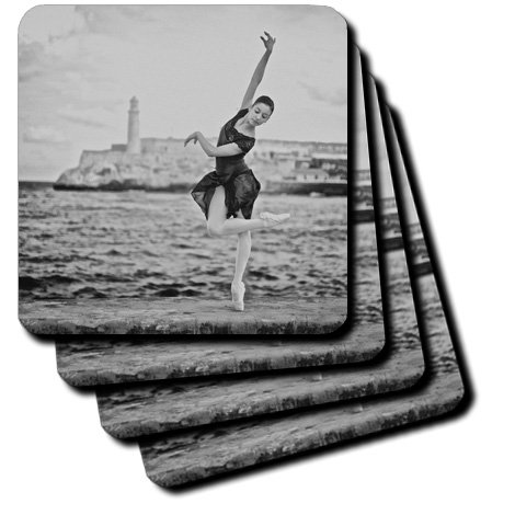 3dRose CST_216163_2 Ballerina from The Cuba National Ballet Dances on The Malecon Soft Coasters (Set of 8) by 3dRose (Image #1)