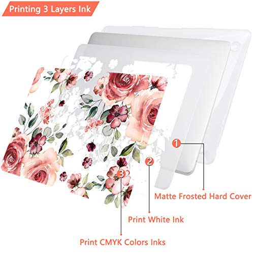 CiSoo MacBook Air 13 inch Case 2020 2019 2018 Release A2179 A1932, Matte Laptop Hard Shell Case Plastic Flower Pattern Frosted Clear Cover with Match Color Keyboard Cover Screen Protector & Dust Plug