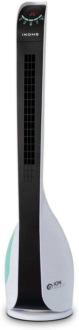 IKOHS Ion-Wind TF - Ventilador Ionizador Torre Ultrasilencioso, 6 Velocidad, con Mando de Control Remoto, Diseño Minimalista, Elimina Polvo, Polen, gérmenes y Malos olores, Color Blanco Mate