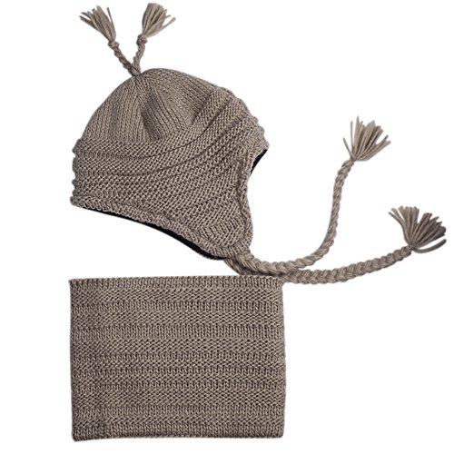 Fleece Tie Scarf (Toddler Winter Hat Scarf Set Boys Girls Fleece Lined Knit Beanie Kids Hat with Earflap)