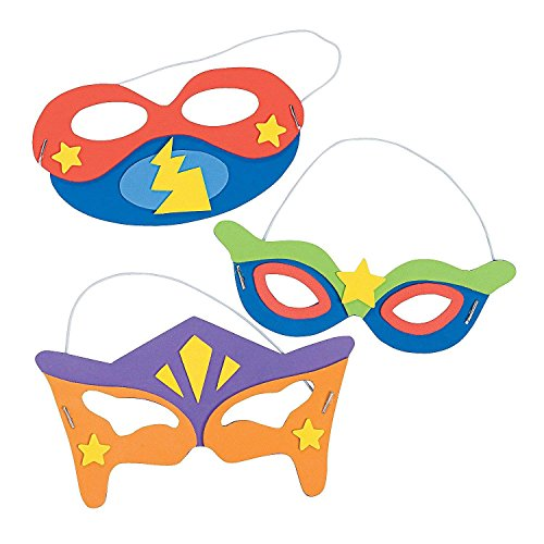 "Superhero Masks Craft Kits (Makes 12) Self-Adhesive Foam Each 8 1/2"""