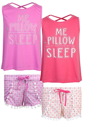 dELiAs 2-Pack Girls Pajama Sleepwear Short Set (2 Full Sets) (14/16, Me Pillow Sleep)']()