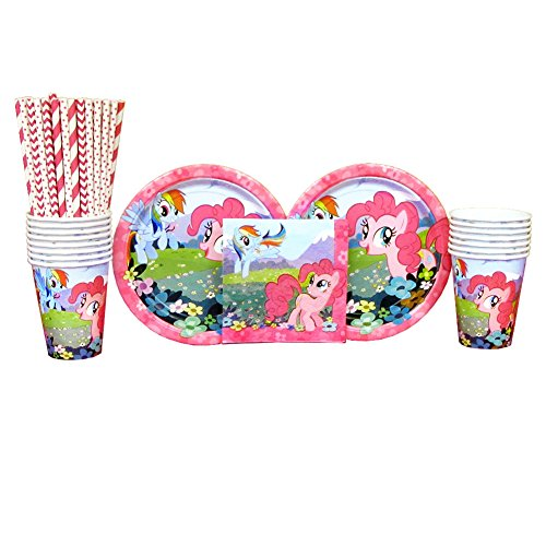 Cedar Crate Market My Little Pony Party Pack for 16 Guests: Straws, Plates, Napkins, and Cups (Bundle for 16)