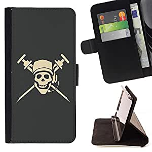 For Samsung Galaxy Note 4 IV cool pirate skull dj microphone cap Style PU Leather Case Wallet Flip Stand Flap Closure Cover
