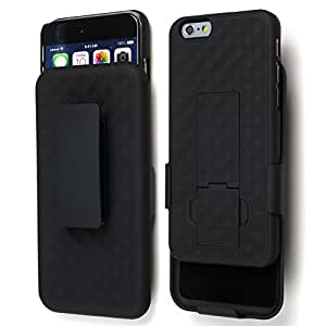 Sean Hard Protective Armor Stand Case with Swivel Belt Clip for Iphone 6 4.7 Inch + 1 Pcs S-smile Stylus (Black)