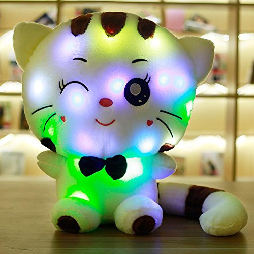 Super Cute Kitty Glowing LED Soft Cushion Pillow 10 Minutes Continuous Luminescence- MAXYOYO Creative Colorful LED Light Stuffed Animal Kitty Toy Shining Plush Toys 31 - Mall Best In Tennessee