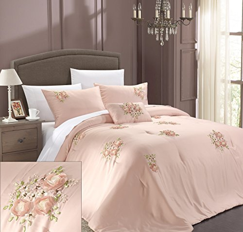 Chic Home Rosetta 5-Piece Comforter Set, Queen, Pink