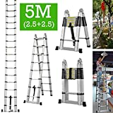 5M Multi-purpose Folding Telescopic Ladder A Frame 2.5m+2.5m with Hinges Aluminium Portable Extension Steps for Home Office Indoor Outdoor 150KG Load Capacity, UK Stock