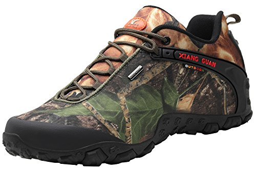 XIANG GUAN Men's Outdoor Low-Top Camouflage Water Resistant Trekking Hiking Shoes Green 10