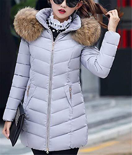 Capucha Grau Acolchada Con Larga Color Casuales Cremallera Elegante Mujeres Laterales Bolsillos Mujer Cuello Sólido Outerwear De Manga Chaqueta Cómodo Capa Invierno Piel dYxqgwAq1