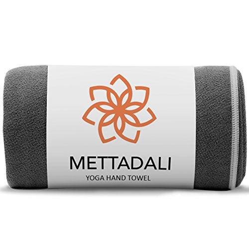 Mettadali Yoga Hand Towel (15 x 24) - Non Slip Resistant & Sweat Activated Gripping Microfiber - Super Soft, Absorbent & Fast Drying Towel (Gray)