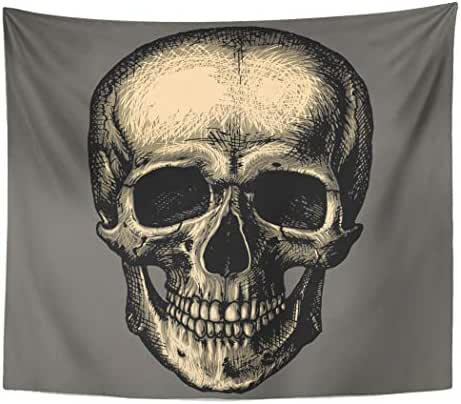 Tinmun Tapestry Bones Human Skull Over Gray Engraving in Wall Hanging for Living Room Bedroom Dorm 60x80 inches