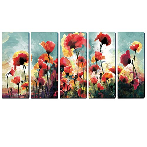 3Hdeko-5 Panels Floral Paintings Contemporary Artwork cubism- Blooming Poppies Hand Embellished Hand Touch Canvas Prints ,Ready to Hang (12 x 30inch x (Canvas Floral Print)