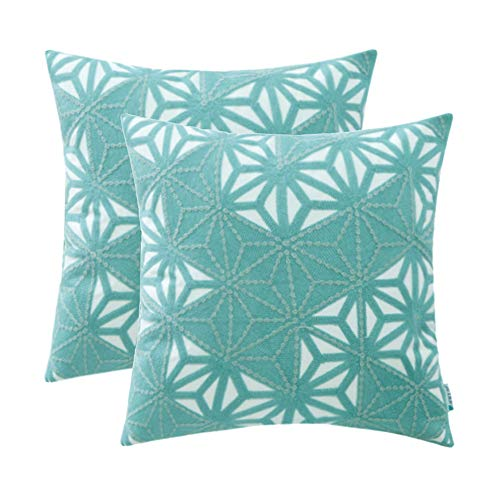 HWY 50 Embroidered Decorative Throw Pillows Covers Set Cushion Cases for Couch Sofa Bed 18 x 18 inch Aqua Modern Triangle Geometric Decor Pack of 2