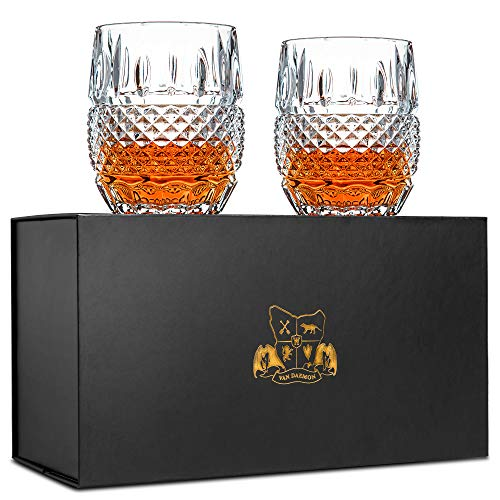 Van Daemon Unique Whiskey Glasses Set of 2. Lead Free Crystal Rocks Tumblers (10oz). 'Crystal Cask' by for Liquor, Bourbon or Scotch. Perfect as a Gift. -