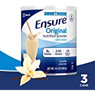 Ensure Original Nutrition Powder with 8 grams of protein, Meal Replacement, Vanilla, 14.1 Ounce, Pack of 3